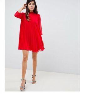 New ASOS Red Pleated Dress Size US 2 Chiffon